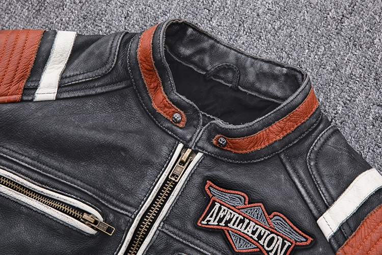 H928a220e4d44445fb4c642e0524f2faeI 2019 Vintage Black Men Leather Motorcyclist Jacket Skull Embroidery Plus Size 3XL Genuine Cowhide Short Biker Coat FREE SHIPPING