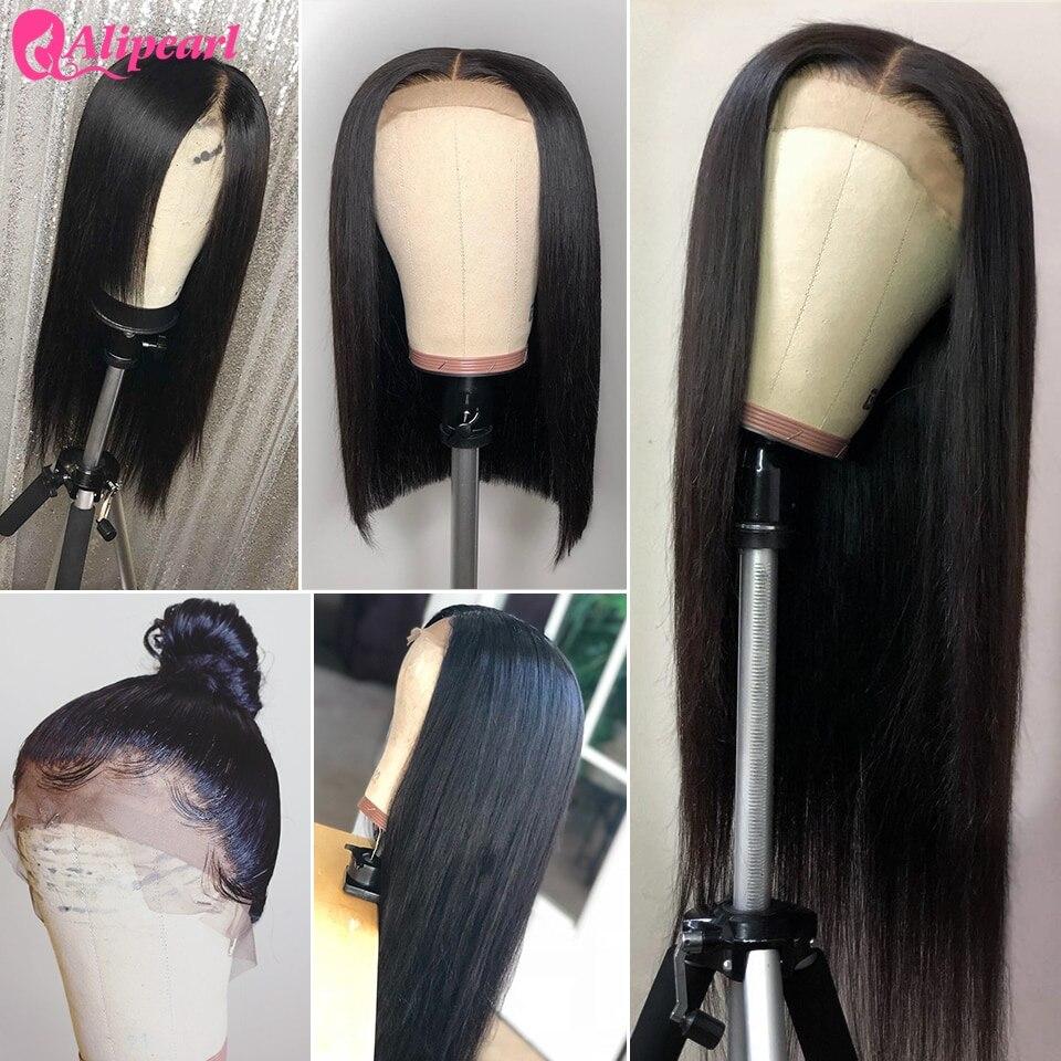 Алиперл волос 13х4 кружева фронта человеческих волос парики для черных женщин бразильские прямые 4x4 закрытие парик предварительно сорвал Ал...