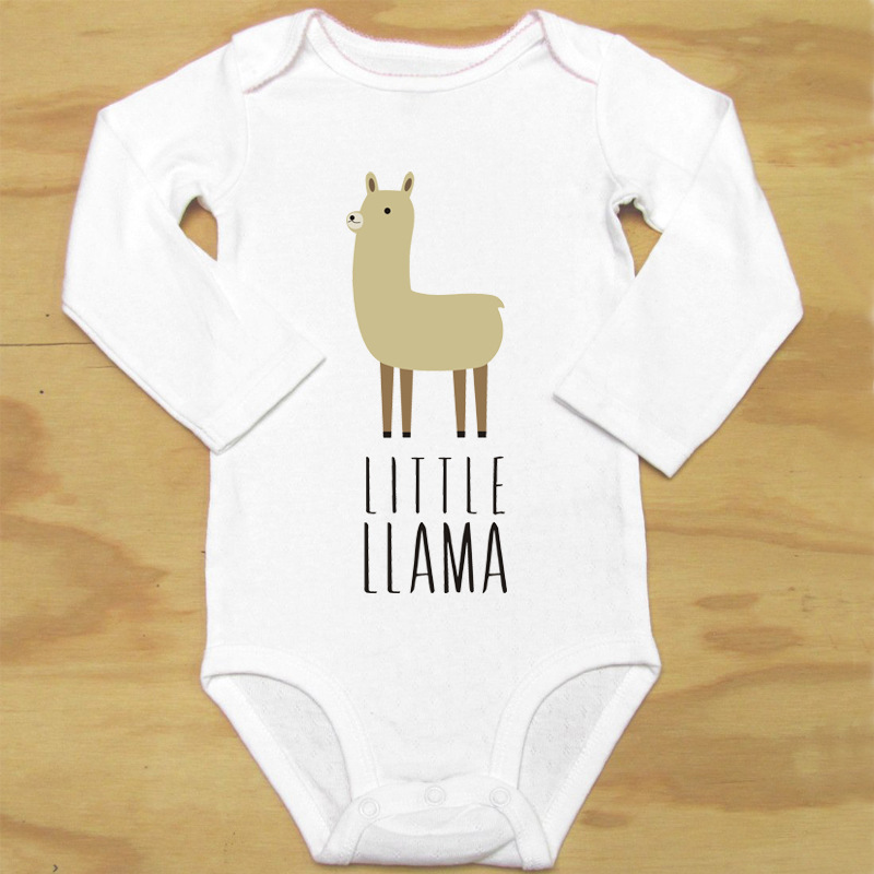 18 European And American-Style Fashion Soft O Neck Crew Neck Long Sleeve Cartoon Alpaca Baby Printed Crawling Clothes Hot Sellin