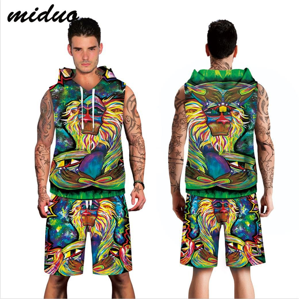 Manufacturers Direct Selling New Products Monkey Digital Printing Two-Piece Casual Men's Large Size Vest Shorts Beachwear