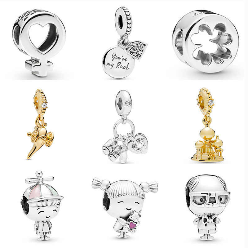 925 Sterling Silver girl boy grandpa AGRABAH ปราสาท MAGIC โคมไฟ crown carriage DIY bead Fit Pandora Charm สร้อยข้อมือ S033