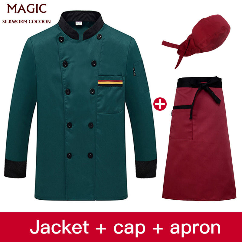 High Quality Long Sleeve Chef Uniform Hotel Uniform Beauty Apron Hat Double-Breasted Stand Collar Breathable Slim Workwear