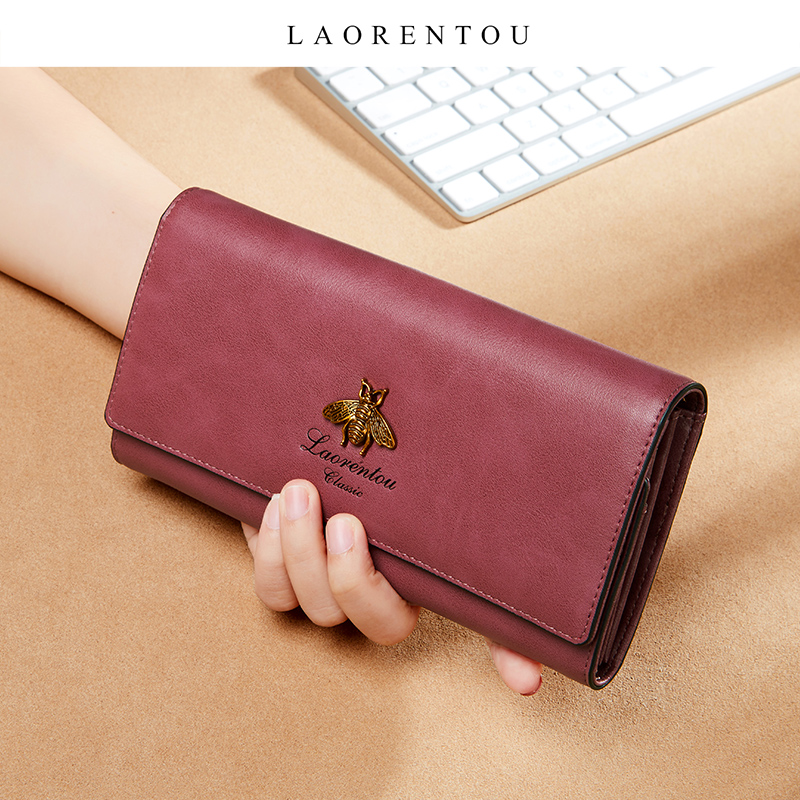 LAORENTOU Fashion Ladies Long Money Purse Retro multifunction Wallet Women Clutch Phone Bag Cow Leather Female Stylish Card Case image
