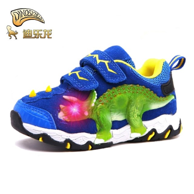 DINOSKULLS 3-10 Boys Autumn Shoes Dinosaur LED Glowing Sneakers 2020 Children's Sports Shoes 3D T-rex Kids Genuine Leather Shoes 2