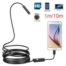 8MM Lens 1M/2M/5M/10M Hard Cable Android USB Endoscope Camera Led Light Borescopes for PC Phone