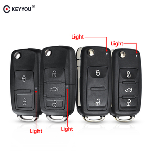 KEYYOU 10PCS 3 buttons Folding Car key Switchblade Key Flip key Shell for VW polo passat b5 Tiguan Golf VOLKSWAGEN Seat Skoda