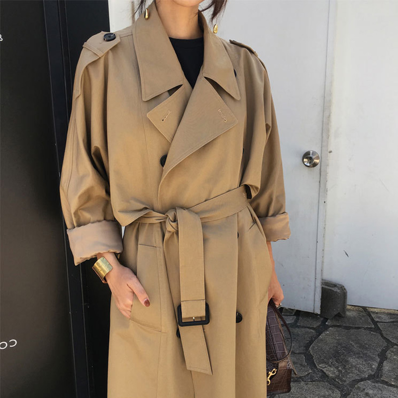 khaki   Trench   Coat Casual women's long Outerwear loose clothes for lady with belt spring autumn fashion high quality gift