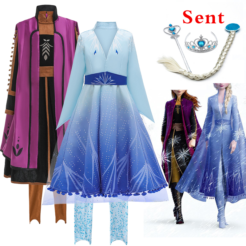 Best Selling New Anna Elsa Frozens 2 Princess Party Prom Role Play Dress Girl Birthday Party Feast New Year Gift Dress