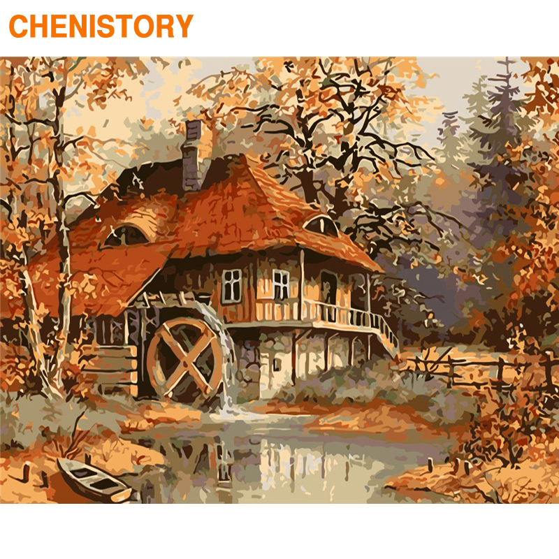 CHENISTORY Frame DIY Painting By Numbers Waterwheel Kit Modern Paint By Numbers Hand Painted Wall Art Picture For Home Decors