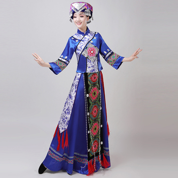 Mongolian Costume Stage Performance Clothing Dance Skirt Gown Mongolian Dance Costume Minority Folk Dance Clothing Apparel
