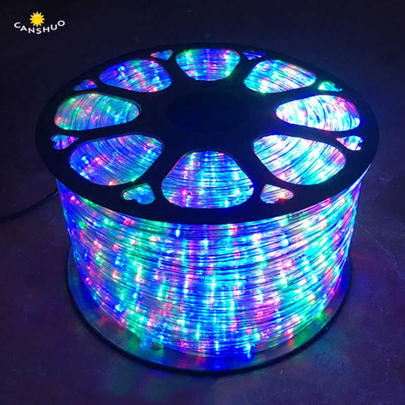 8 Modes Rainbow Tube 220V LED Strips Neon Light Round Two Wire Waterproof Outdoor Christmas Wedding Decor Lights RGB Led light