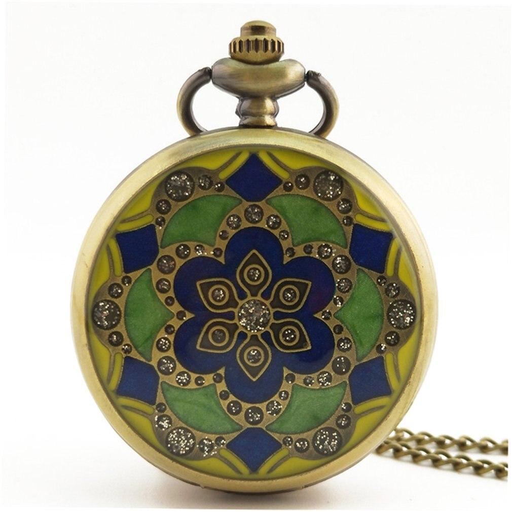 GENBOLI 1PC Flower Pattern Vintage Antique Round Dial Quartz Pocket Watch Necklace Pendant Clock For Mens Womens Best Gifts