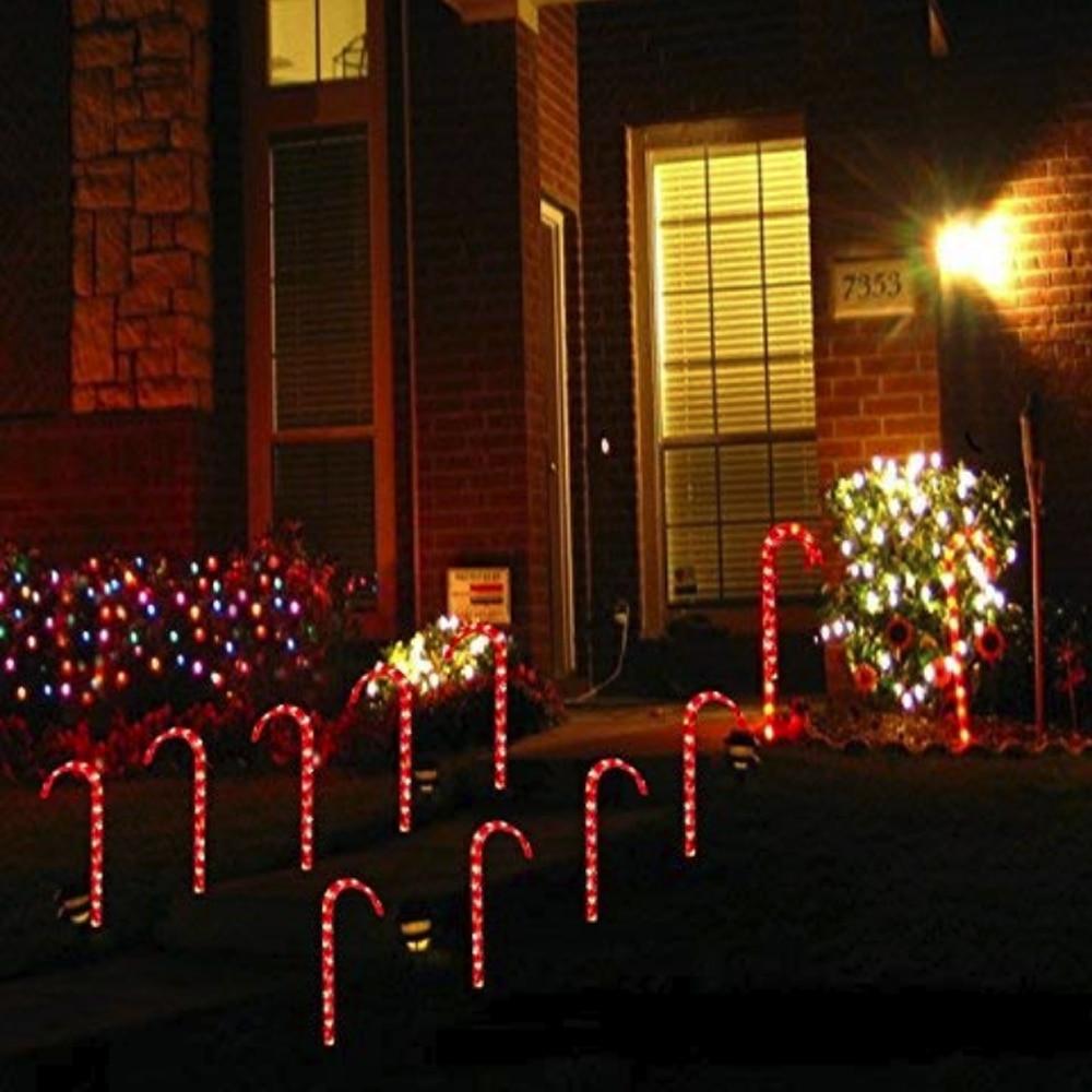 110 v 10 estacas bengala passarela luz decoracao de natal muleta lampada festival eua plug atmosfera
