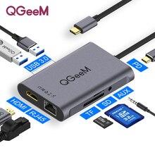 QGeeM 8 In 1 USB C Hub for Macbook Pro USB Hub 3.0 Adapter PD HDMI RJ45 TF SD 3.5mm Aux Type C Hub for iPad Pro Splitter Dock