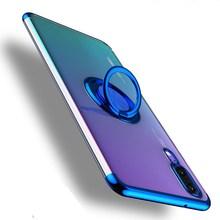 Sprawa dla Huawei P30 P20 Lite Pro pokrywa podpórka z pierścienia magnetyczny uchwyt samochodowy Case dla Huawei Mate 30 20 Lite Pro Honor 9X 8X 8A 10 tanie tanio Slefinslef Pół-owinięte Przypadku Przezroczysty Odporna na brud Anti-knock Soft TPU Silicone Plating Case Electroplate TPU Silicone Case for Huawei P30 Cover