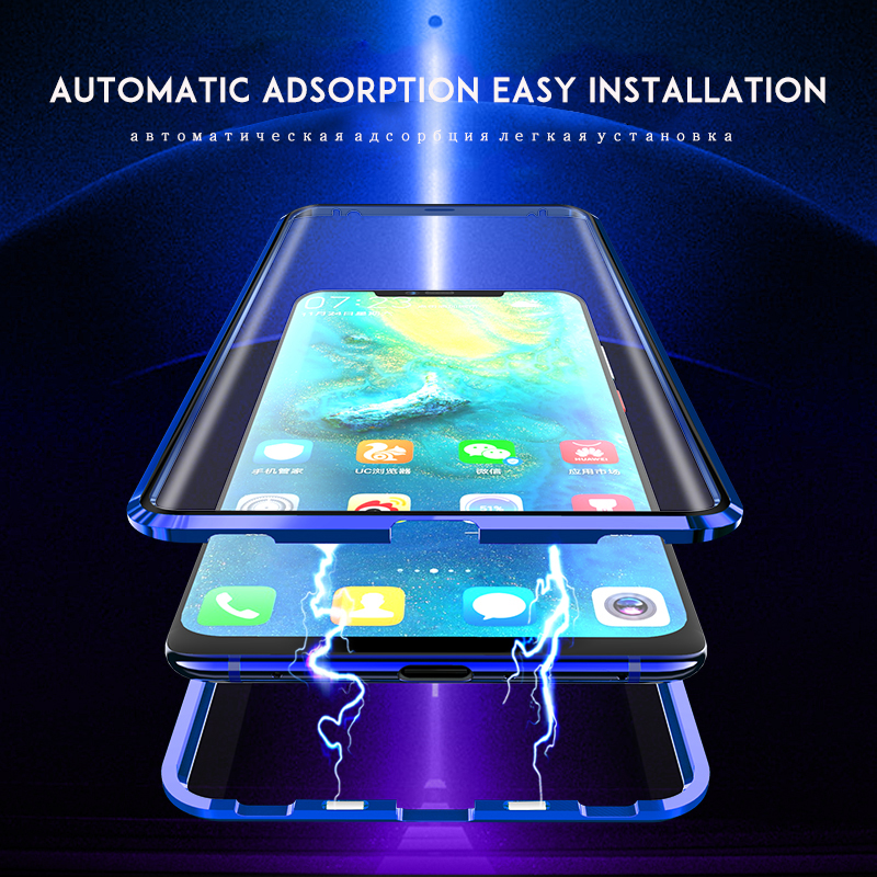 Image 2 - Magnetic Adsorption Case 360 for Xiaomi Redmi note 7 Tempered Glass Full Cover for Redmi K20 Pro Case transparent shockproof-in Fitted Cases from Cellphones & Telecommunications