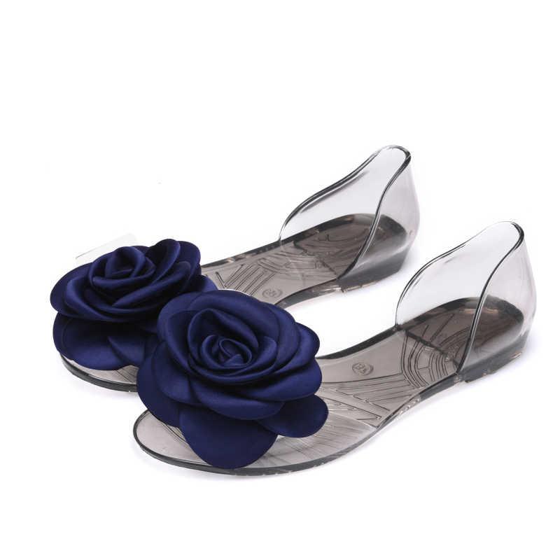 Kadın yaz düz kapak topuklu burnu açık gül sandalet kadın çiçek jöle ayakkabı kadın şeffaf moda Casual bayan ayakkabısı yeni