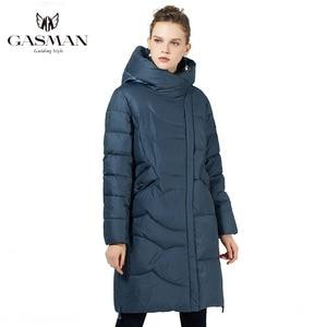 Image 1 - GASMAN 2019 נשים החורף שחור מעיל בתוספת גודל אופנה דובון סלעית חם מעילי מעילי נקבה ארוך המשאף למטה מעיל 19022