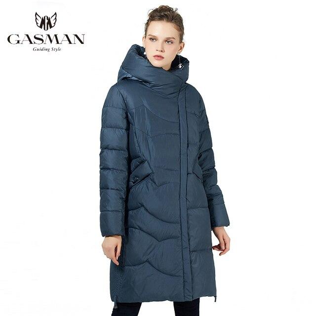 GASMAN 2019 נשים החורף שחור מעיל בתוספת גודל אופנה דובון סלעית חם מעילי מעילי נקבה ארוך המשאף למטה מעיל 19022
