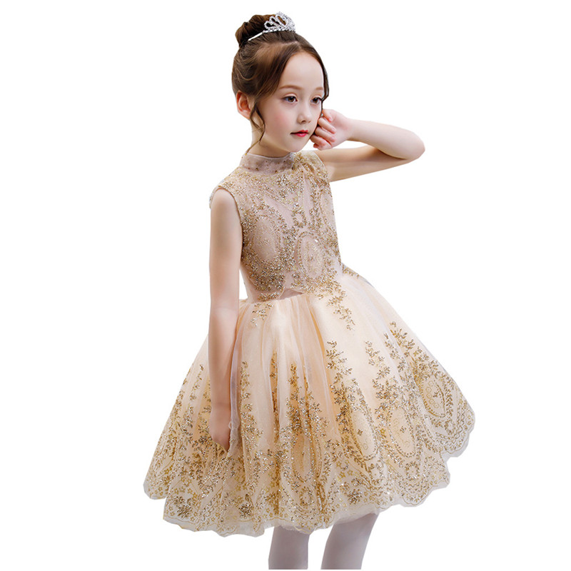 Fashionable Glizt Flower Girl Dress for Weddings Kids Gold Wire Party Princess Birthday First Holy Communion christmas dress