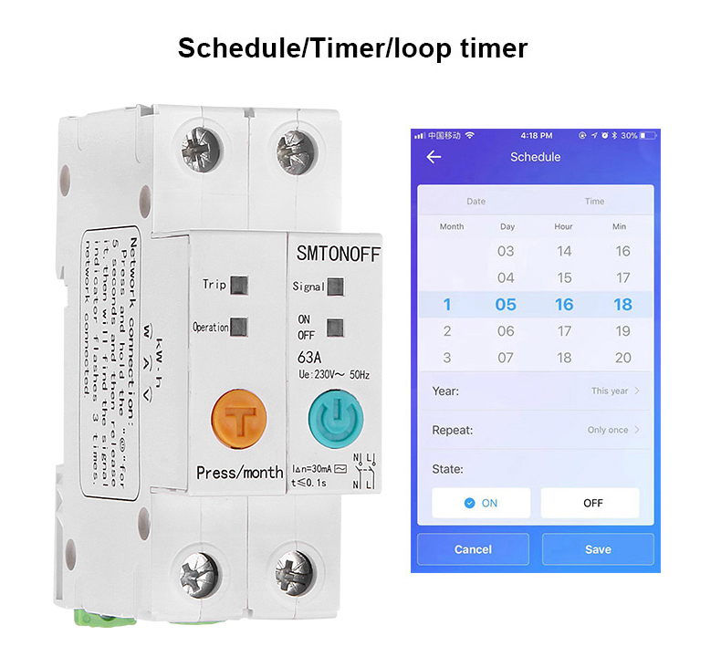 ewelink WIFI remote control leakage current protection circuit breaker energy monitoring with Alexa google home for Smart home