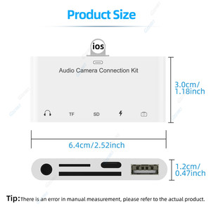 Image 5 - 5 In 1 USB 3.0 SD TF Card Camera Reader Mobile Phone Adapter For iPhone XR 11 8 7 Adapter With 3.5mm Jack Charging OTG Cable