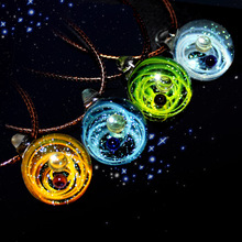 2019 Two Planet Universe Galaxy Glass Necklace Space Nebula Cosmic Pendant Women Bride Wedding Gift Luxury Brand