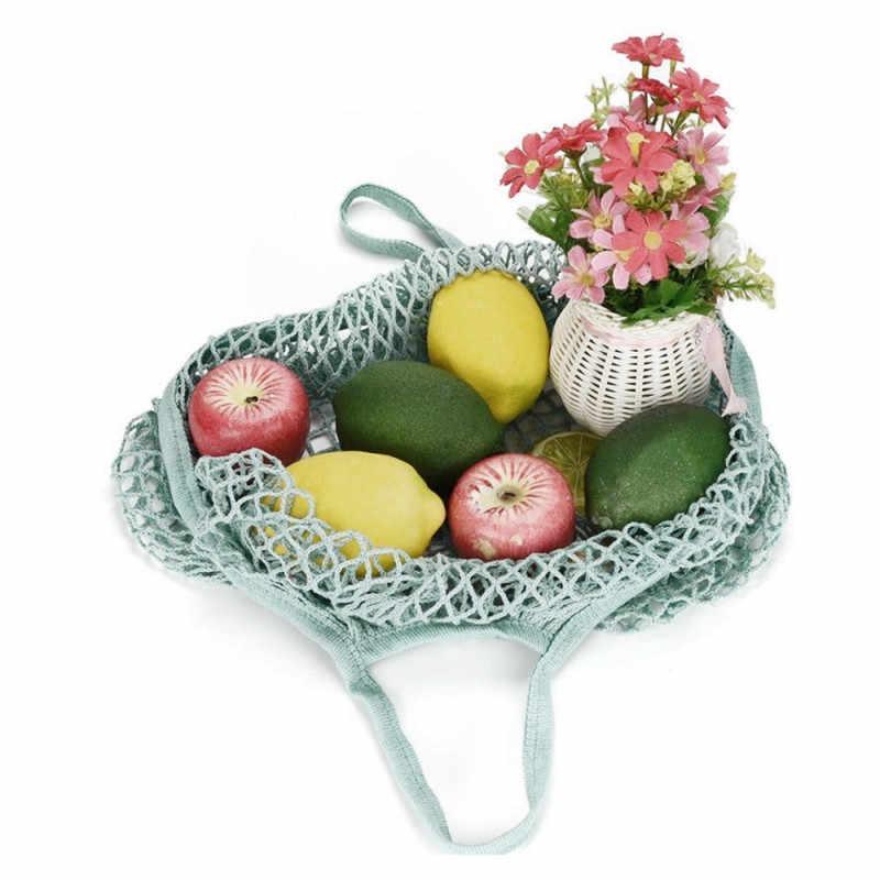 Einkaufstasche Praktische Grün Obst Einkaufstasche Tote Tasche Lebensmittel Supermarkt Baumwolle Mesh Mesh Gesponnene Mesh Tasche Lagerung Korb