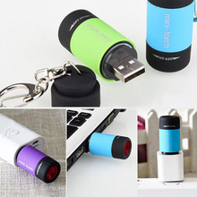 Mini LED Keyring Flashlights Portable USB Rechargeable High-light Pocket Torch for Outdoor Valentines Day Gift