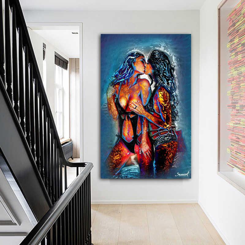 Due della ragazza Baciare Astratta Pitture a Olio del Ritratto di Arte Della Parete della Tela di Canapa Stampata Per Soggiorno camera Da Letto Moderna Decorazione No frame
