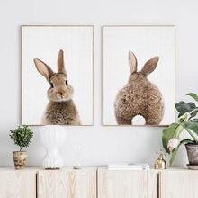 Quadro de parede de animais de floresta, arte de coelho, rabo de coelho, tela, poster de berçário, pintura minimalista, nórdica, decoração de quarto de crianças