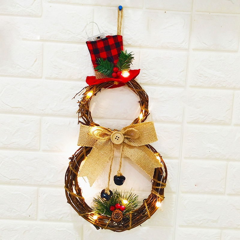 BEAU-Christmas Halloween LED Wreath Hanging Decoration Household Wreath Wall Door Farmhouse Decor image