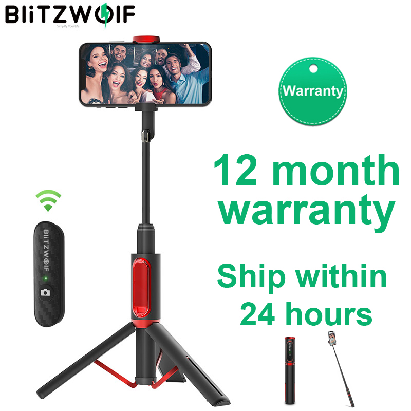 BlitzWolf BW-BS10 Portable bluetooth Selfie Stick with Tripod Extendable Foldable Monopod for iPhone 11 X Huawei Xiaomi