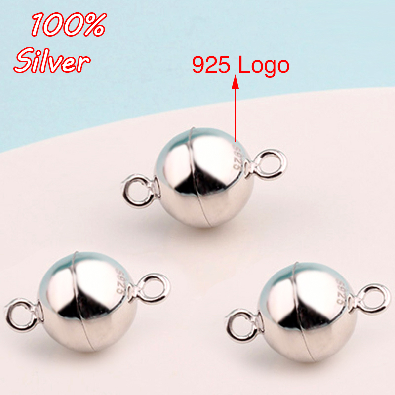 100% 925 Sterling Silver Ball Shape Magnetic Clasp Converter 6mm 8mm Bracelet Necklace Jewelry Making Accessories Wholesale