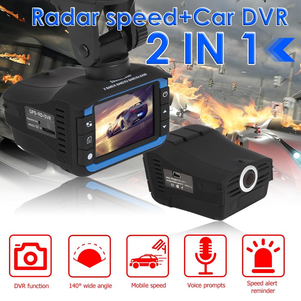 Автомобильный видеорегистратор 2 в 1, HD 1280p, с широкоугольным объективом 140 дюйма, радар-детектором, голосовым оповещением на английском и рус...