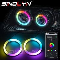 Sinolyn-luces LED dinámicas giratorias para coche, iluminación RGB de Ojos de Ángel con flujo secuencial, Bluetooth, compatible con aplicación inalámbrica, luces para correr de algodón