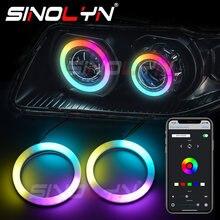 Sinolyn-Anillo de luz LED RGB con ojos de Ángel, iluminación dinámica de algodón con flujo secuencial, Bluetooth, DRL, Halo, accesorios para coche, 80/90/95/100mm
