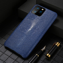 Echtes Leder fall Für Iphone 11 pro max 12 Original Stingray leder zurück abdeckung Für iphone 11 fall xr xs max 7 8 coque fundas