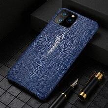אמיתי עור מקרה עבור Iphone 11 פרו מקסימום 12 מקורי Stingray עור חזרה כיסוי עבור iphone 11 מקרה xr xs מקסימום 7 8 coque fundas
