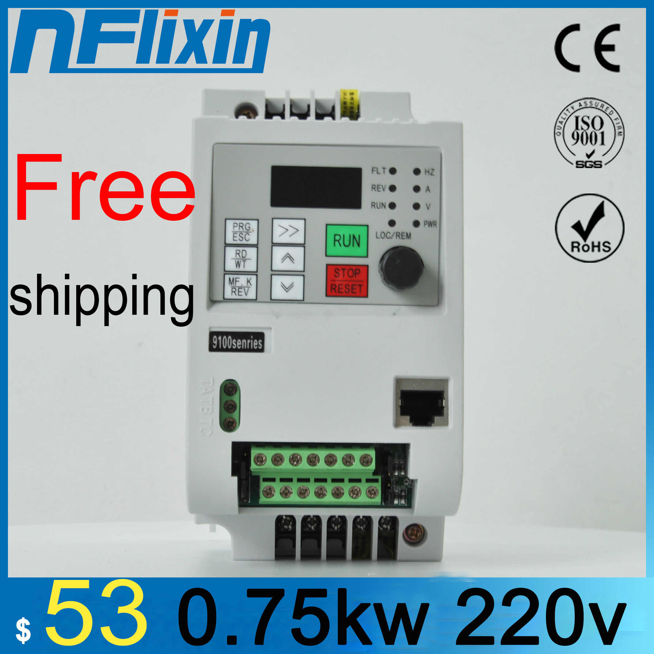 NFLixin 0.75KW 220V VFD Single Phase input and 3 Phase Output Frequency Converter/Adjustable Speed Drive /Frequency Inverter