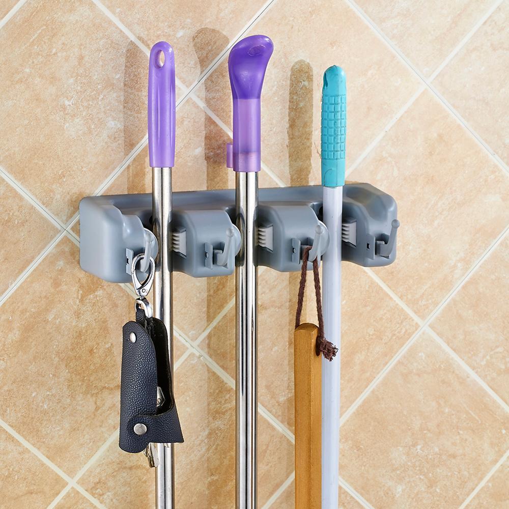 Kitchen Mop Broom Holder Wall Mounted Organizer Brush Storage Hanger Rack Tool