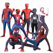 New Adult Kids Spider Gwen Miles Morales Man Cosplay Costume Zentai Spiderman PS4 Homecoming Suit Bodysuit Jumpsuits