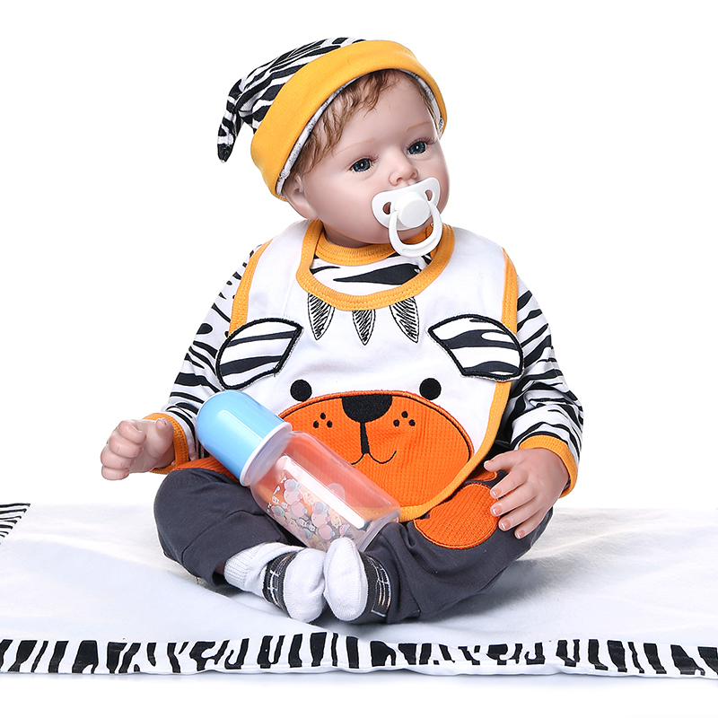 toy for children Silicone Reborn Dolls alive boy Doll Reborn baby with Animal pattern clothes For Girls Bebes Reborn kids gift