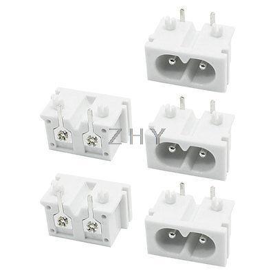 Işıklar ve Aydınlatma'ten Konnektörler'de 5 adet Beyaz Plastik PCB kartı IEC320 Giriş C8 Güç Adaptörü Çıkış AC 250V 2A title=