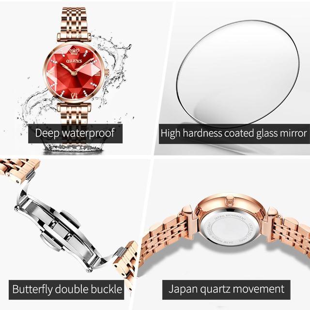 OLEVS New Women Luxury Jewel Quartz Watch Waterproof Stainless Steel Strap Watch For Women Fashion Date Clock 6