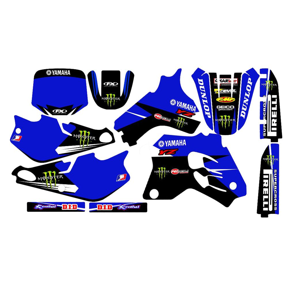 For YAMAHA YZ80 1993-2001 New Full Graphics Decals Stickers Custom Number Name 3M Bright Stickers Waterproof