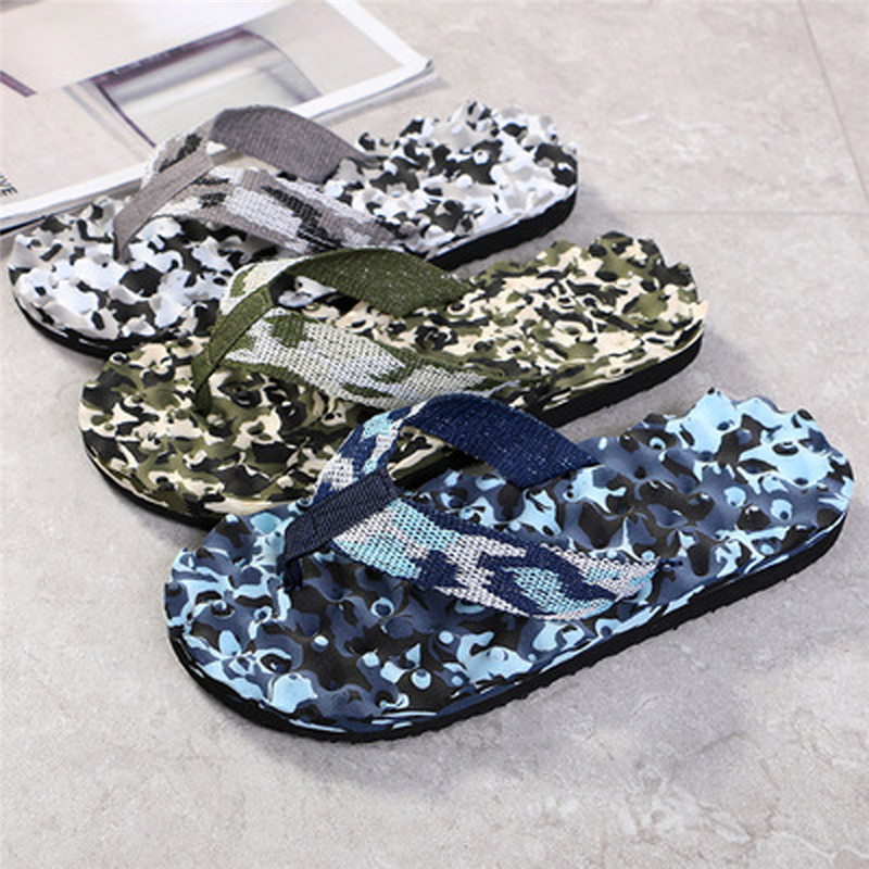 Men Summer Slippers Bohemia Anti-slip Thongs Shoes Beach Sandals Camouflage Flip Flops Slippers Male Outdoor Sandals Shoes