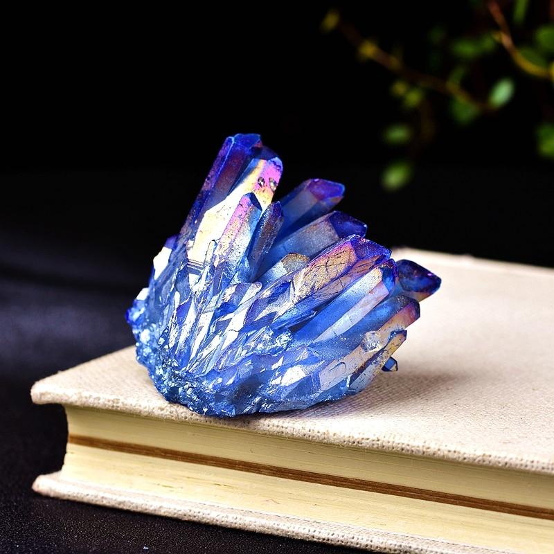 Natural Quartz Crystal Rainbow Titanium Cluster Point Rare Decoration Craft Reiki Stone Can For Healing Specimen Mineral