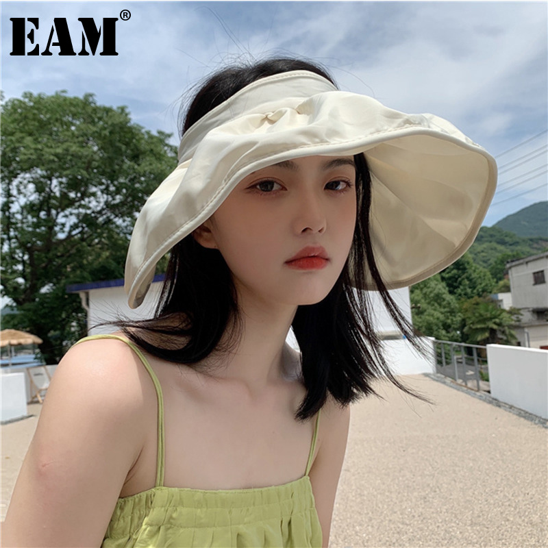 [EAM] Women Beige Multicolor Ruffles Fishermen Hat New Round Dome Temperament Fashion Tide All-match Spring Autumn 2021 1DE0520