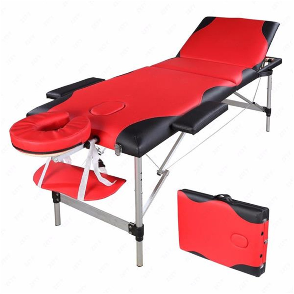 3 Sections Folding Aluminum Tube SPA Bodybuilding Massage Table Red With Black Edge